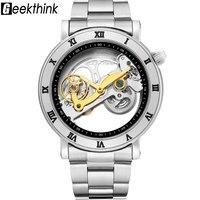 Top brand Skeleton Tourbillon automatic Mechanical Watch Men's luxury business men Wristwatch self wind Relojes Steampunk