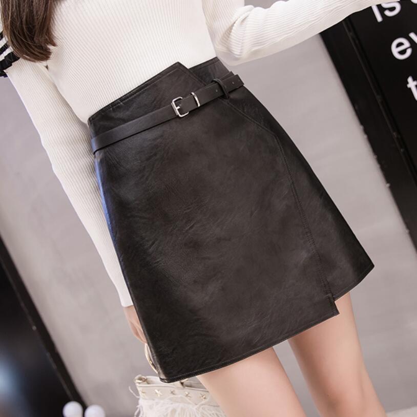 2018 Women Autumn Winter Pu Leather Skirt Short Skirt Female Irregular High Waist PU Skirt Skirts Women LY290