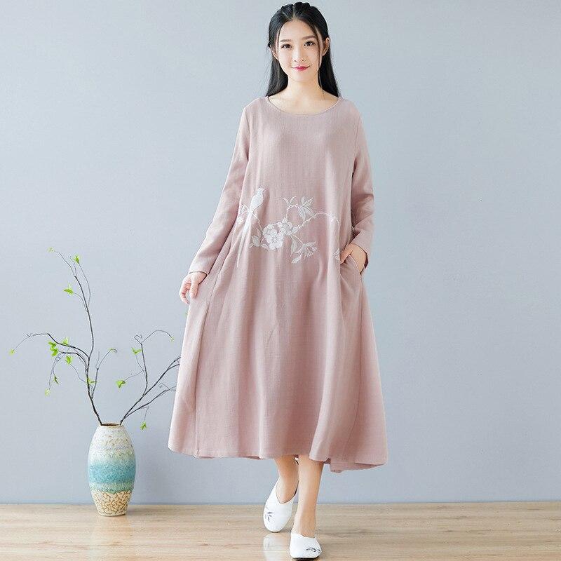 Automne hiver nouvelle robe chinoise col rond broderie rétro quotidien coton linge Art femmes vêtements rose - 6