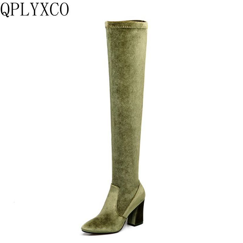 QPLYXCO 2017 New hot Fashion Big small Size 33-46 Winter Long Boots shoes Ladys over the knee high Boots High quality shoes 9426