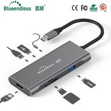 Blueendless USB C ประเภท C 3.1 Splitter 3 พอร์ต USB C ถึง USB 3.0 อะแดปเตอร์ HDMI สำหรับ MacBook Pro อุปกรณ์เสริม USB C HUB