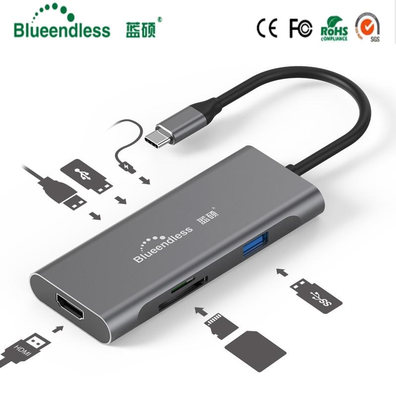 Blueendless USB-C Type C 3.1 séparateur 3 ports USB C HUB à Multi USB 3.0 HDMI adaptateur pour MacBook Pro accessoires moyeu de USB C