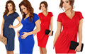 2015 Summer Maternity Dresses Sexy V-neck Elasitc Cotton Dress Pregnancy Casual Dresses 9 Color Clothing For Pregnant Women