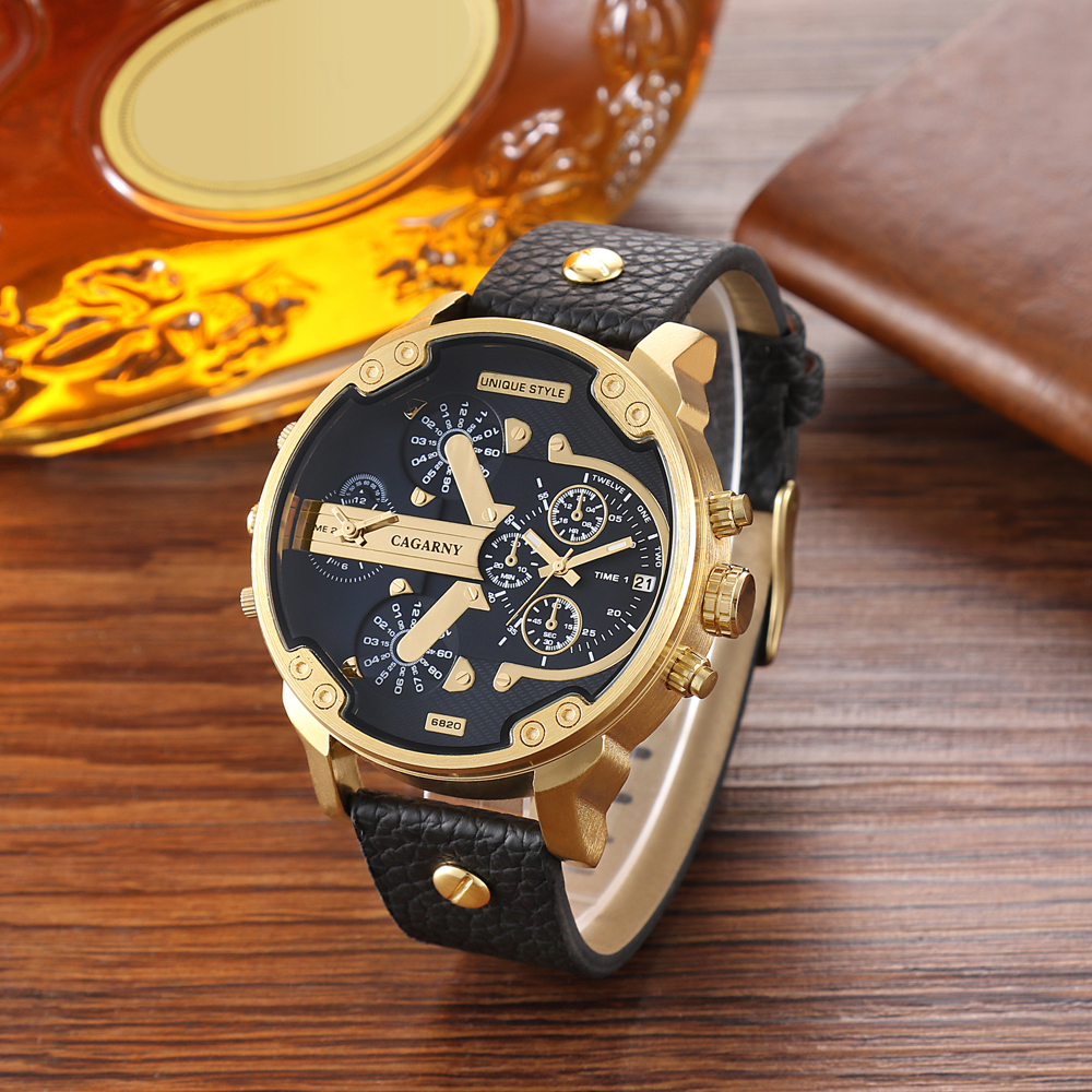 luxury brand cagarny quartz watch for men watches golden case dual time zones dz style watches (6)