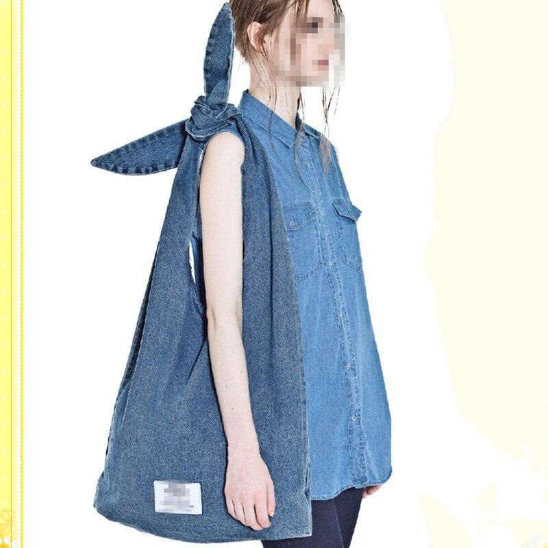 2018 Fashion Women Casual Tote Shoulder Messenger Handbags Canvas Bundling Strap Denim Environmental Shopping Bag Satchel Bags