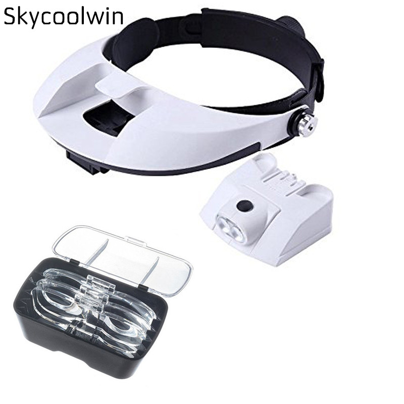 LED Headband Magnifier with 5 Lenses 1x, 1.5x, 2x, 2.5x, 3.5x Illuminated Helmet Head Loupe Surgical Dental Loupes With 2led Lam 3led magnifier for dental surgical and watch repairing and reading magnifier with lighted adjustable helmet head mounted magnify