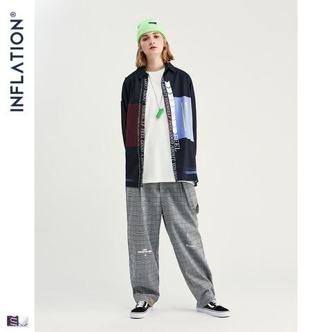 INFLATION Men Long Sleeve Shirts Digital Printing Oversized Shirts 2019 Autumn Male Streetwear Fashion Shirts 92140W Islamabad