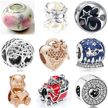 7df654684370 Btuamb de lujo cristal amor hueco corazón Santa flor perla simulada Beads Fit  Pandora encanto brazaletes para las mujeres joyerí.