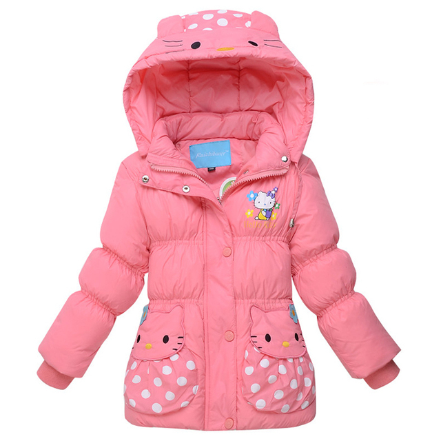 886018e04 2015 Winter Fashion Kids Clothes Hello Kitty Down Jackets Warm Outerwear  Windproof Parkas Girls Jackets Hooded Coat for 3-7T
