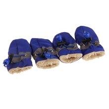 4 шт./лот; 4 размера; Основная Хлопковая Обувь для собак Водонепроницаемый домашних животных Нескользящие домашние тапочки зимняя обувь для собак дождевые сапоги Регулируемый теплые носки под кроссовки