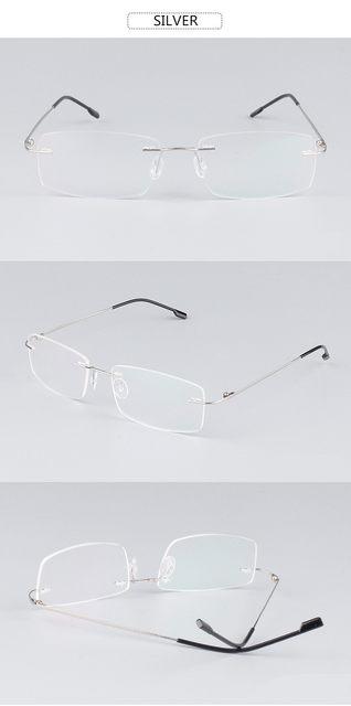 8ae8016a4bdfa Clássico Mens Armações de Óculos Sem Aro de Titânio Puro óculos de Miopia  Óptico Armação de Titânio Ultra-leve Sem Moldura Óculos de Armação do  Negócio ...