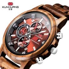 ไม้นาฬิกาผู้ชาย Casual แฟชั่นสไตล์ไม้ Chronograph นาฬิกาควอตซ์กีฬากลางแจ้งทหารนาฬิกาสำหรับ Man