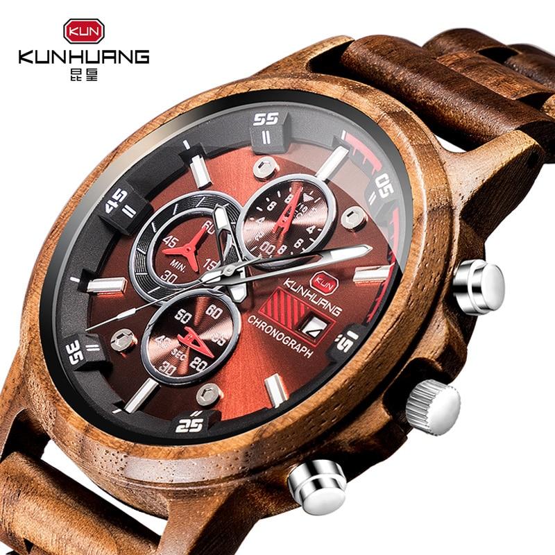 Relojes de madera para hombre, relojes de cuarzo con cronógrafo de ma