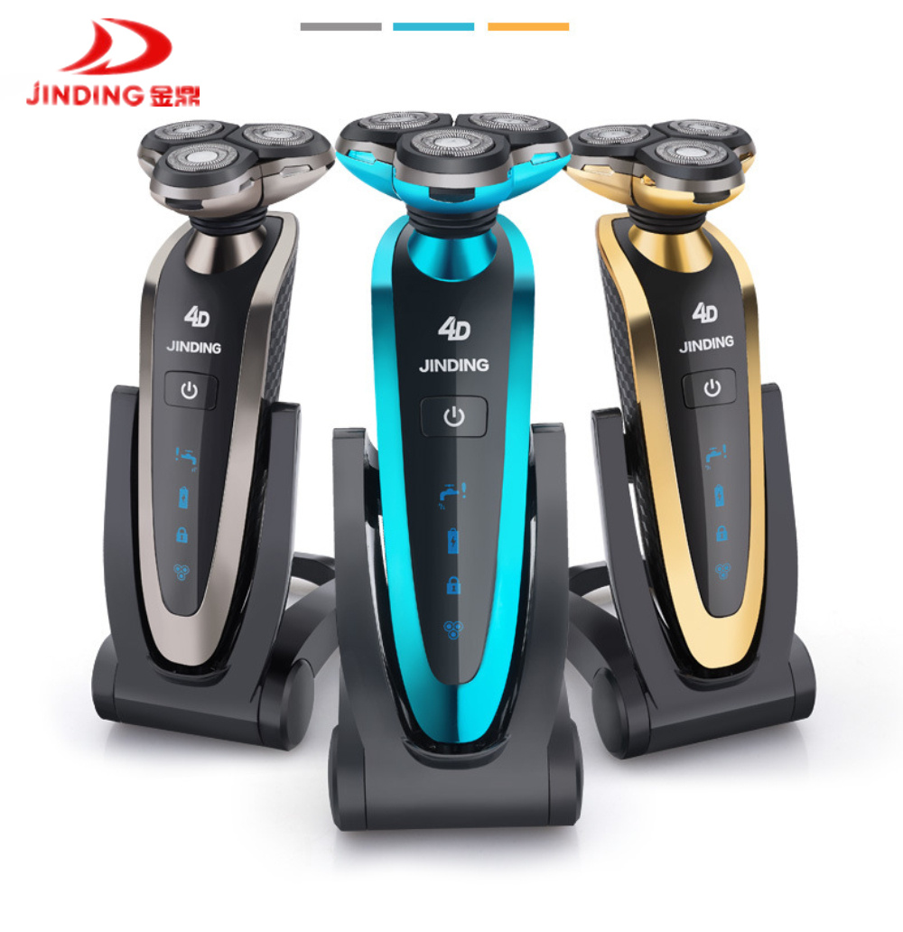 JINDING Charging Base Rechargeable Waterproof 3 Blades Electric Shaver for Men with Folding philips electric shaver s330 rechargeable and waterproof design for men s flexible veneer system with retail package