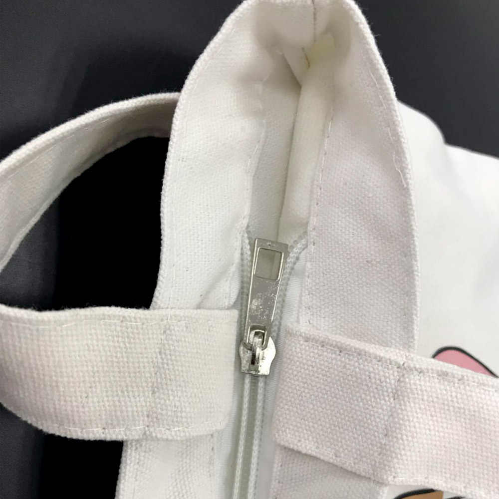 Прекрасный мультфильм с принтом «мороженое» сумки многоразового использования для покупок прочный Для женщин практичная сумка черный, белый цвет тканевая сумка через плечо