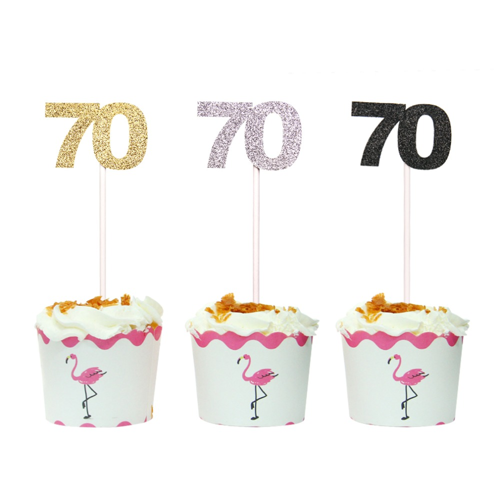 Gold Silver and Black Number 70 Cupcake Topper 70th ...