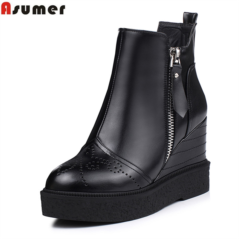 ФОТО ASUMER unique high wedges heels ankle boots for women with high quality pu soft leather cute cound toe zip winter boots