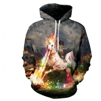 2018 New fashion Women Men Hooded sweatshirt Unicorn and Knight Cats Print Pullover 3D casaul Creative Hoodies