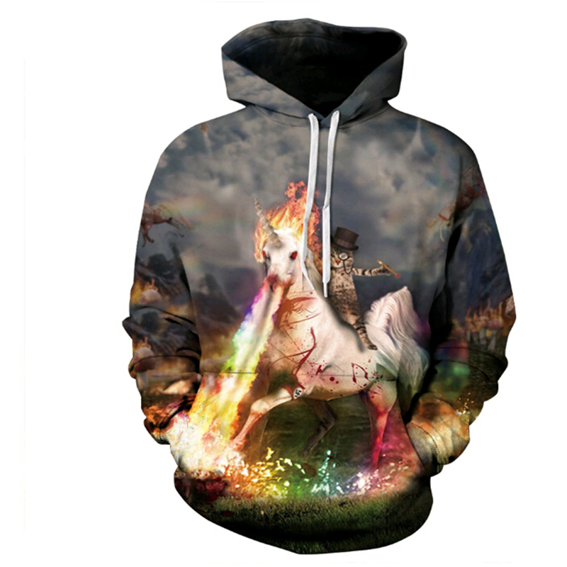 2018 New fashion Women Men Hooded sweatshirt Unicorn and Knight Cats Print Pullover 3D casaul Creative Hoodies