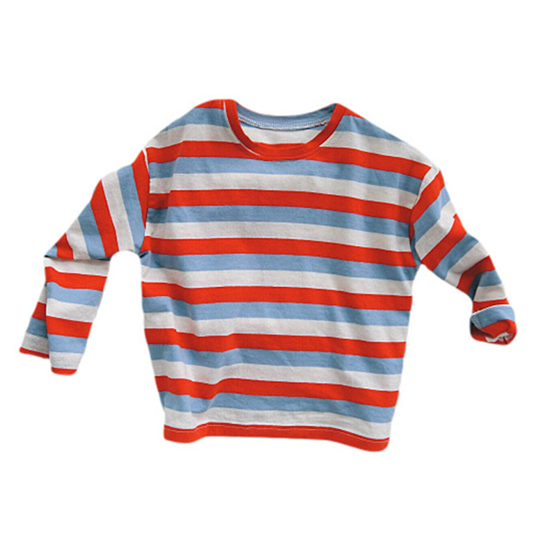 T-Shirts Long-Sleeve Fall Girls Baby Striped Kids Fashion Cotton Children Crew Casual