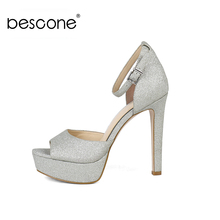 BESCONE Sexy 13 cm Super High Heel Women Sandals Basic Buckle Thin Shoes Casual Silver Sequins Outside Ladies BY31