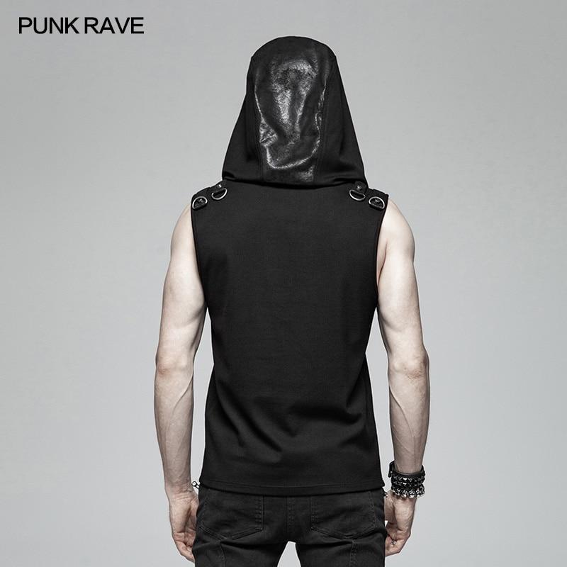 Punk Rave hombres camiseta de Punk Casual misterioso Sudadera con capucha sin mangas de moda Hip Hop Streetwear Top de la Sfor hombres - 3