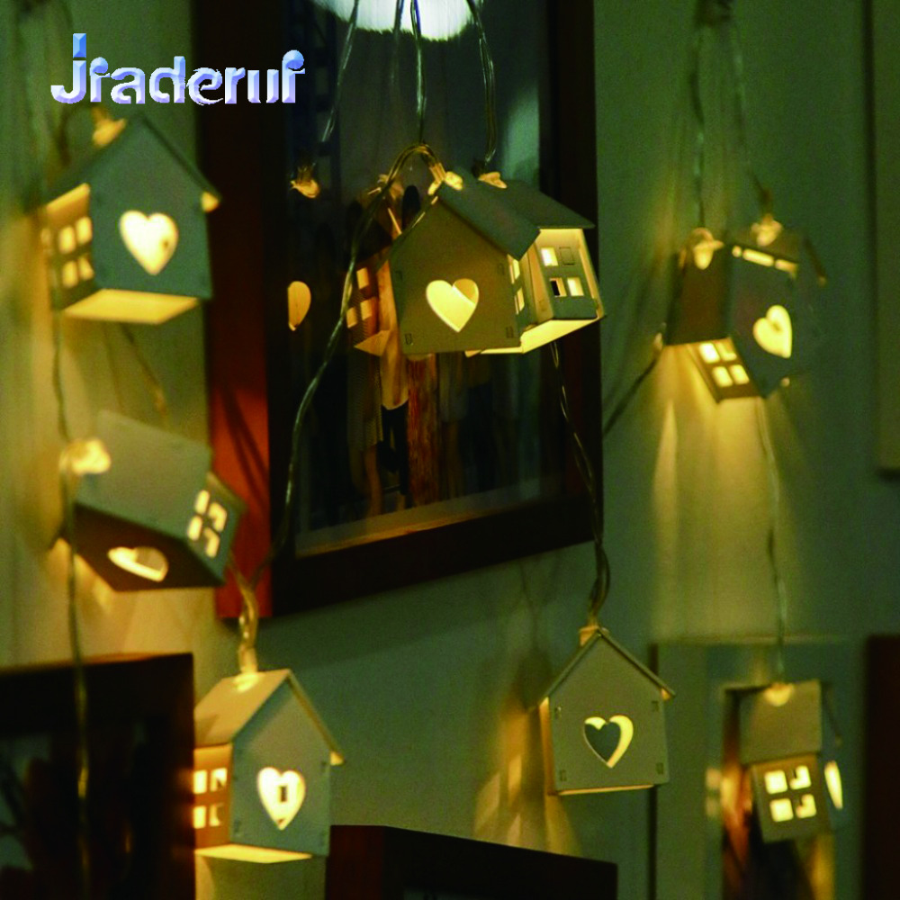 Jiaderui LED 150cm 10 LEDs Heart Wood Garland House String Lights with Battery Box for Gift Lights Holiday Wedding Party Decor
