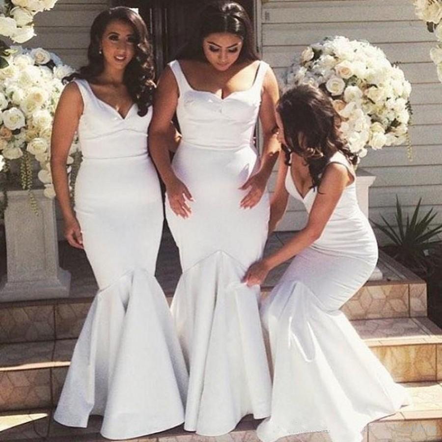 White 2019 Cheap   Bridesmaid     Dresses   Under 50 Mermaid V-neck Satin Long Wedding Party   Dresses   For Women