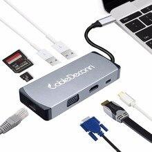 купить USB-C hdmi vga adapter Hub usb3.1 Type C to HDMI 4K VGA USB3.0 USB2.0 USB C PD 5in1 Docking Adapter for Macbook Pro 2017 онлайн