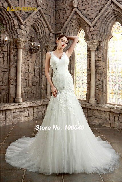 Mermaid Wedding Dress Sparkle Tulle Lace Appliqued Bridal Gown ...