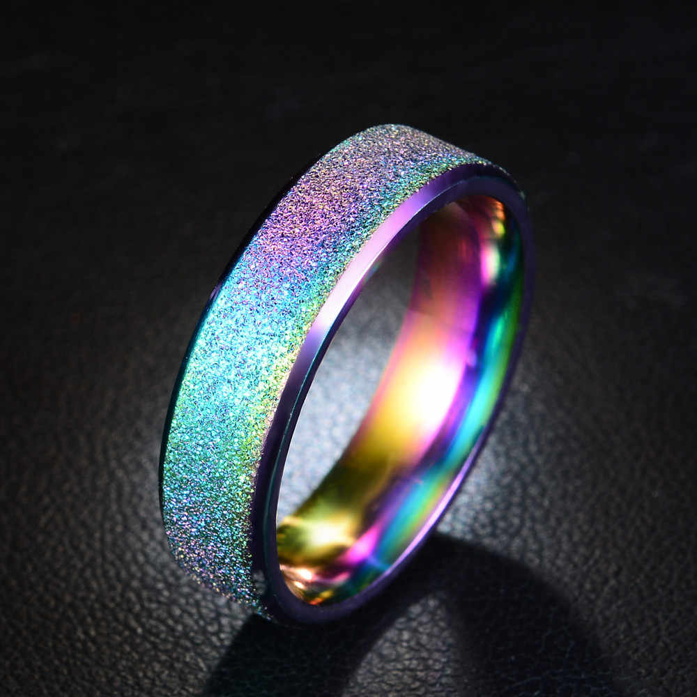 Hot sale Ring Simple Stainless Steel Ring Female Fashion Scrub Color Rainbow Color Sandblasting ring gold blue black rings