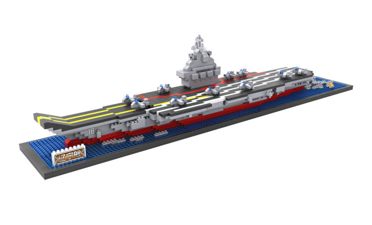 Fun Childrens toy blocks are compatible with Legoes world famous aircraft carrier model, childrens intellectual blocks