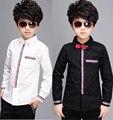 2016 мода с длинным рукавом белый черный рубашка для детей мальчиков галстук рубашки сорочка enfant гарсон мульти-марка camiseta эль-ниньо подростков 12 лет