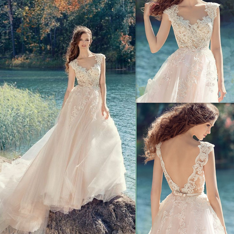 Bow Belt Back Scoop Neckline Illusion Tulle A line Wedding Dress with Lace Appliques Sweep Train
