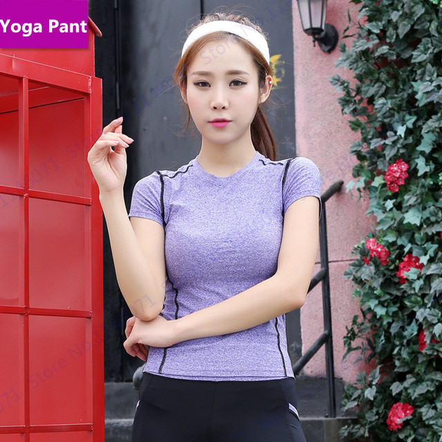 a4dcfc965a3e6 Amarillo de las mujeres apretadas delgadas corriendo camiseta rosa de manga  corta de fitness gym yoga