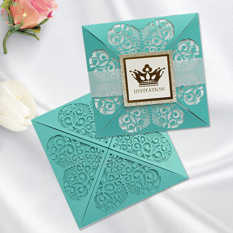 Us 38 74 10 Off 50set Teal Blue And Glitter Gold Love Heart Crown Wedding Invitations Card Elegant Favors Rsvp Cards In