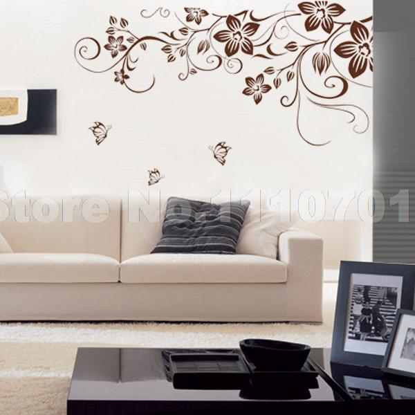 Brown Flower Vine Diy Vinyl Wall Stickers Home Decor Art Decals 3D
