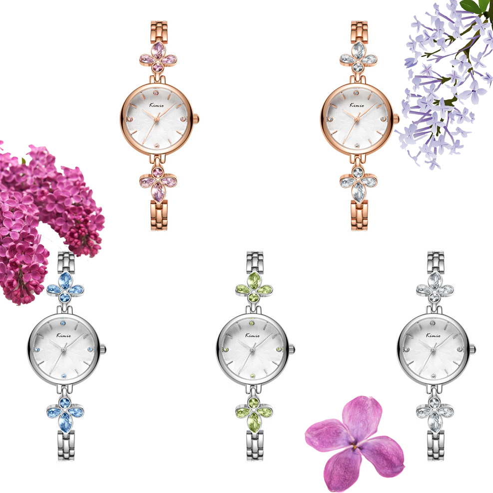 KIMIO Brand Women Crystal Flower Bracelet Watches Luxury Ladies Magnolia Small Dial Dress Watches Female Wedding Clock Reloj Muj