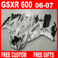 High Quality Fairings For 100 Brand New Autocycle SUZUKI GSXR 600 750 White Black 2006 2007