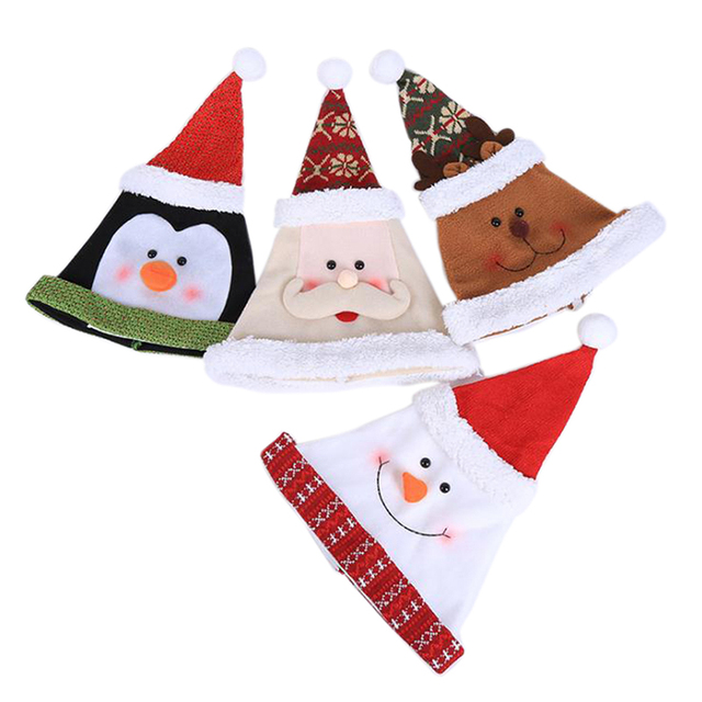 1pcs santa claus snowman elk christmas hats for xmas home party decoration favors adult cap novelty