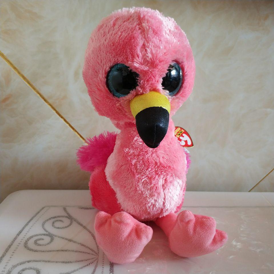 "TY Beanie Boos 3/"" Clip Pink Gilda Flamingo Stuffed Animal Plush w// Ty Heart Tags"