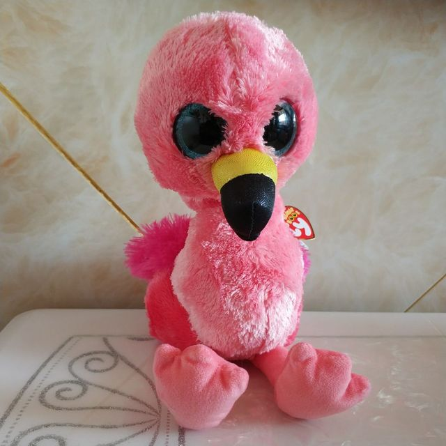 Gilda pink flamingo with tag label TY BEANIE BOOS COLLECTION 1PC 25CM BIG  EYES Plush Toys Stuffed animals children toy 3a7c62556677