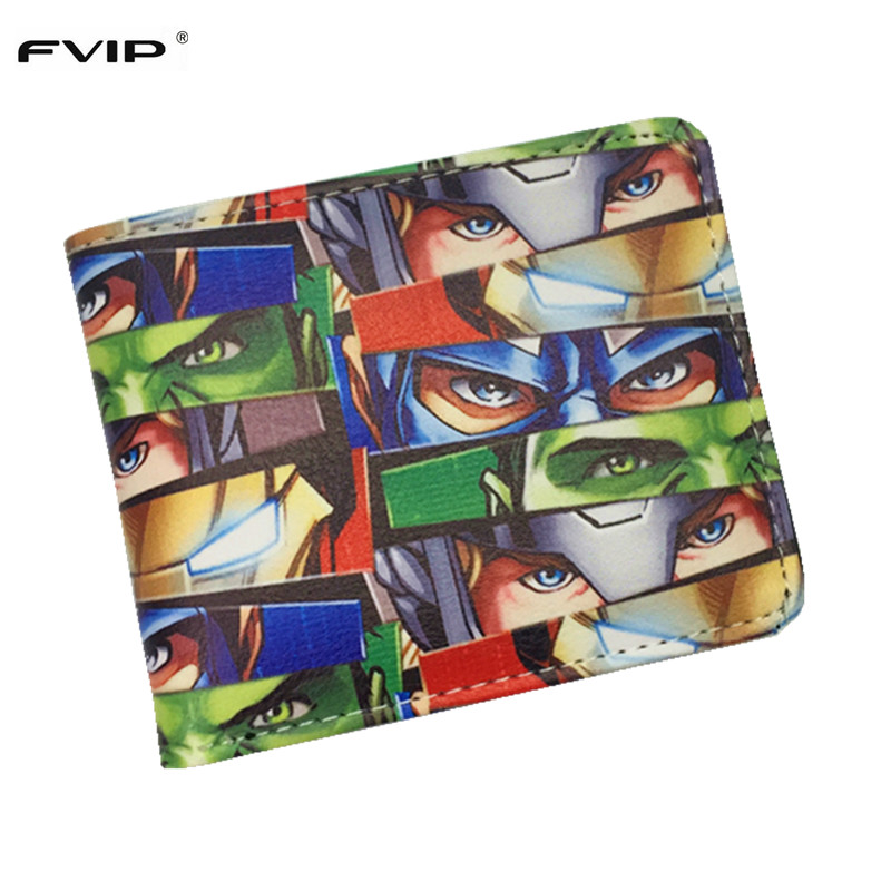 FVIP Marvel Comics Cosplay The Marvel Hero X-MAN/Captain America/Spiderman Wallet Students Thin Purse Dollar Price dc marvel comics pencil wallets avengers hero captain america spider man iron man rectangle long pencil bag zipper pouch purse