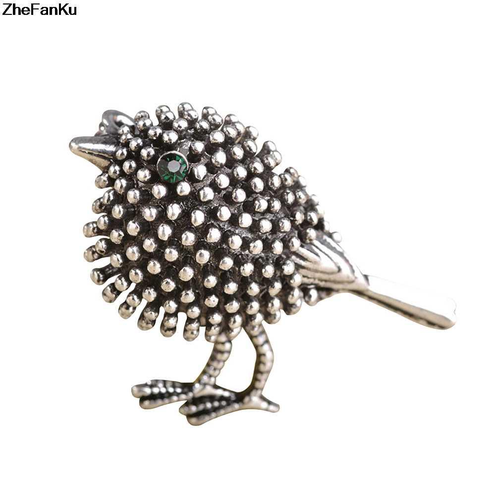 Harajuku Uccello Spilla Spilli Donne Sveglio Della Decorazione Del Vestito di Colore Oro Antico Animale Spilla Vintage Sciarpa Piccolo Collare Clip