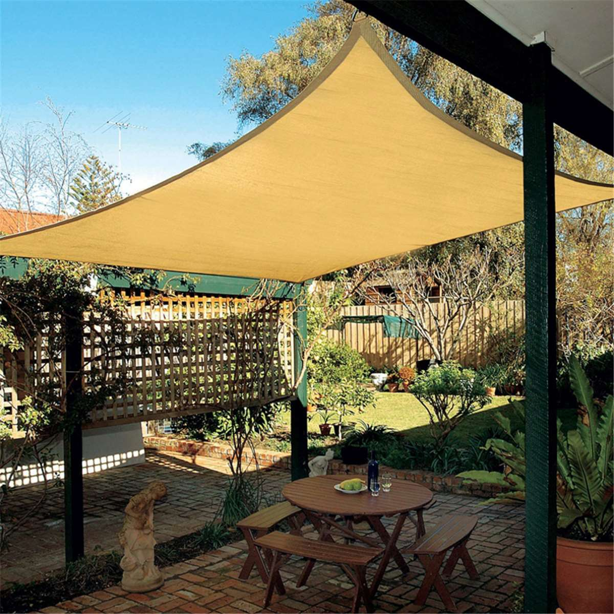 Polyester Rectangle Sun Shade Awning 6X4m Sail Outdoor Garden UV Protection  Top Canopy Cover Patio Pool