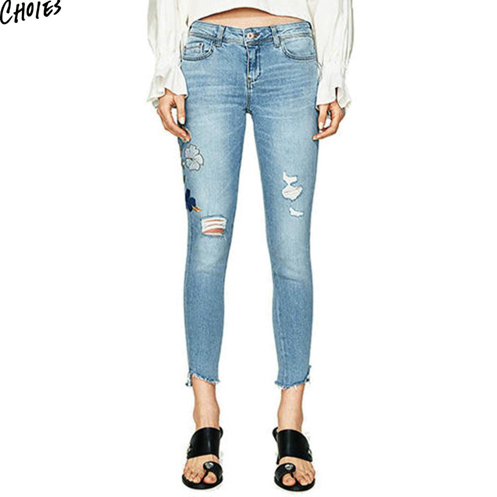 Blue Denim Embroidery Floral Ripped Skinny Jeans Women Mid Waist Zipper Fly Silm Casual Pockets Back Ankle Length Pencil Pant pockets casual ankle length embroidery summer hole denim harem pants fashion floral jeans ripped jeans for women tt2395