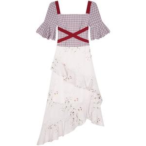Image 4 - Yigelila 2019 mais recente feminino babados vestido moda quadrado pescoço alargamento manga na altura do joelho xadrez retalhos vestido de impressão 62769