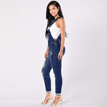 Womens Jumpsuit Denim Overalls Spring Autumn Casual Ripped Hole Pants Jeans Fashion Classic Style Soft(China)