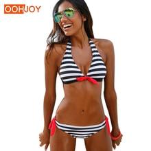 Купить с кэшбэком Brazilian Women Swimsuit Colorful Stripes Bikini Set S-XLLow Waist Swimwear Halter Push Up Girl Bathing Suit Backless Tankini