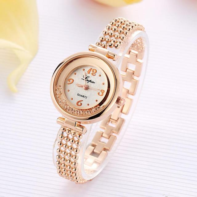2018 Watch Women Gold Fashion Clock Women Bracelet Watch Ladies Brand Luxury Rhi